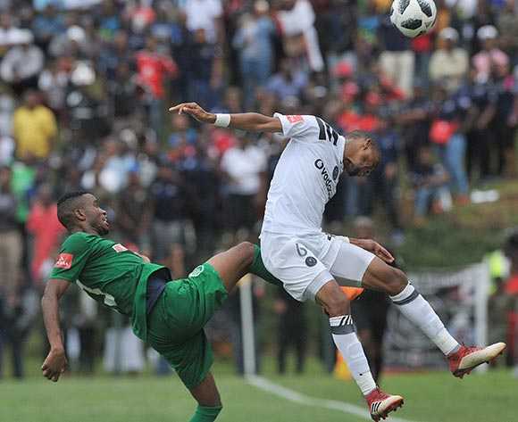 Gladwin Shitolo of Orlando Pirates challenges Ovidy Karuru of AmaZulu  during the Absa Premiership match between AmaZulu and Orlando Pirates 15 April  2018 at King Zwelithini Stadium, Durban  Pic Sydney Mahlangu/BackpagePix