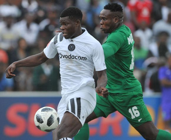Marshall Munetsi of Orlando Pirates is challenged by Rhulani Manzini of AmaZulu during the Absa Premiership match between AmaZulu and Orlando Pirates 15 April  2018 at King Zwelithini Stadium, Durban  Pic Sydney Mahlangu/BackpagePix
