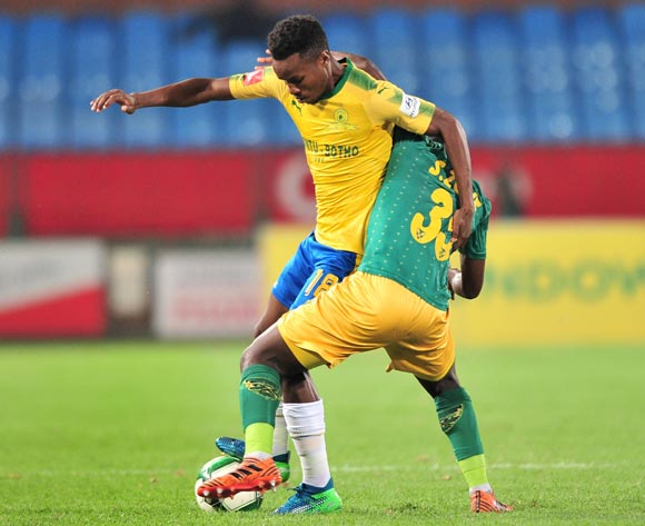 Themba Zwane of Mamelodi Sundowns challenged by Sandile Zuke of Golden Arrows during the Absa Premiership 2017/18 football match between Mamelodi Sundowns and Golden Arrows at Loftus Stadium, Pretoria on 17 April 2018 ©Samuel Shivambu/BackpagePix