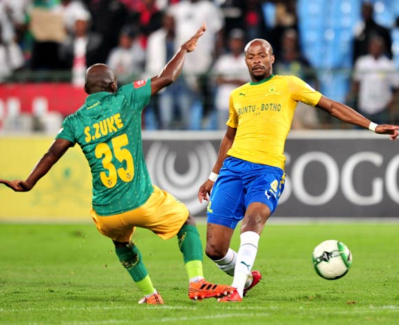 Tebogo Langerman of Mamelodi Sundowns challenged by Sandile Zuke of Golden Arrows during the Absa Premiership 2017/18 football match between Mamelodi Sundowns and Golden Arrows at Loftus Stadium, Pretoria on 17 April 2018 ©Samuel Shivambu/BackpagePix