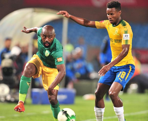 Sandile Zuke of Golden Arrows challenged by Themba Zwane of Mamelodi Sundowns during the Absa Premiership 2017/18 football match between Mamelodi Sundowns and Golden Arrows at Loftus Stadium, Pretoria on 17 April 2018 ©Samuel Shivambu/BackpagePix