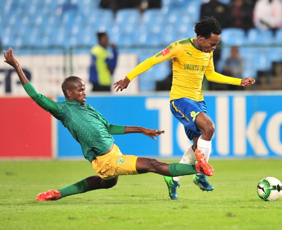 Percy Tau of Mamelodi Sundowns tackled by Nkanyiso Mngwengwe of Golden Arrows during the Absa Premiership 2017/18 football match between Mamelodi Sundowns and Golden Arrows at Loftus Stadium, Pretoria on 17 April 2018 ©Samuel Shivambu/BackpagePix