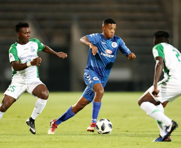Jamie Webber of Supersport United challenged by Odhiambo George and Onguso Wesley of Gor Mahia during the 2018 CAF Confederations Cup match between Supersport United and Gor Mahia at Lucas Moripe Stadium, Atteridgeville on 18 April 2018 ©Muzi Ntombela/BackpagePix