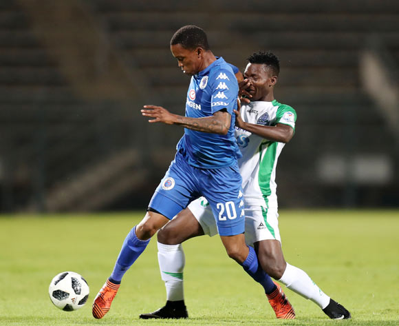 Grant Kekana of Supersport United challenged by Odhiambo George of Gor Mahia during the 2018 CAF Confederations Cup match between Supersport United and Gor Mahia at Lucas Moripe Stadium, Atteridgeville on 18 April 2018 ©Muzi Ntombela/BackpagePix