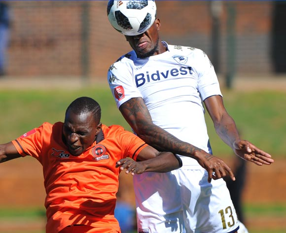 Rodney Ramagalela of Polokwane City challenges Sifiso Hlanti of Bidvest Wits during the Absa Premiership match between Bidvest Wits and Polokwane City  22 April  2018 at Bidvest Stadium  Pic Sydney Mahlangu/BackpagePix