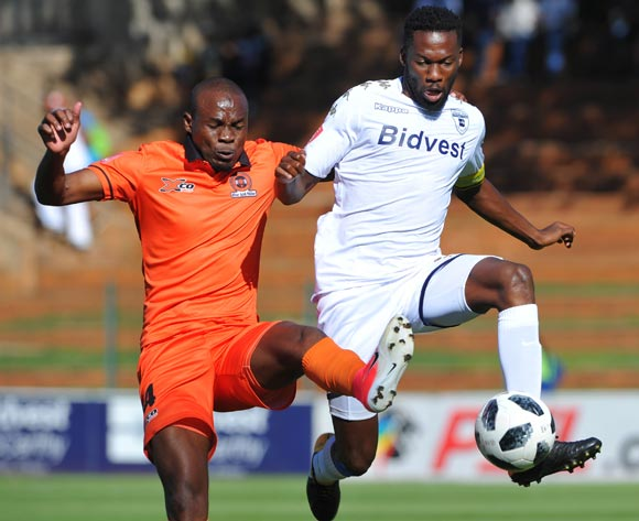 Muhammad Sulumba of Polokwane City challenges Buhle Mkhwanazi of Bidvest Wits during the Absa Premiership match between Bidvest Wits and Polokwane City  22 April  2018 at Bidvest Stadium  Pic Sydney Mahlangu/BackpagePix