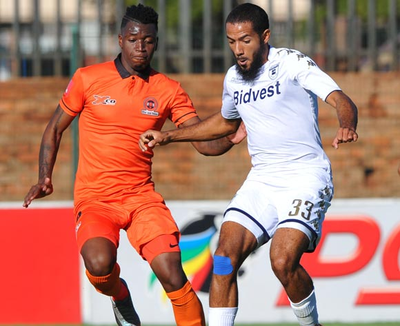 Walter Musonda of Polokwane City challenges Reeve Frosler of Bidvest Wits during the Absa Premiership match between Bidvest Wits and Polokwane City  22 April  2018 at Bidvest Stadium  Pic Sydney Mahlangu/BackpagePix