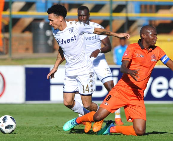 Jabulani Maluleke of Polokwane City is challenged by Daylon Claasen of Bidvest Wits during the Absa Premiership match between Bidvest Wits and Polokwane City  22 April  2018 at Bidvest Stadium  Pic Sydney Mahlangu/BackpagePix
