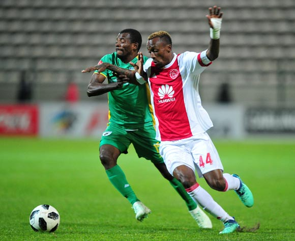 Yannick Zakri of Ajax Cape Town takes on Albert Mothupa of Baroka FC during the Absa Premiership 2017/18 game between Ajax Cape Town and Baroka FC at Athlone Stadium, Cape Town on 24 April 2018 © Ryan Wilkisky/BackpagePix