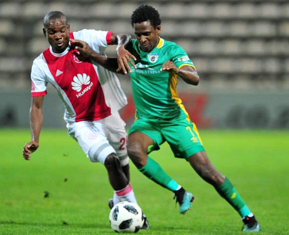 Talent Chawapiwa of Baroka FC is challenged by Tercious Malepe of Ajax Cape Town during the Absa Premiership 2017/18 game between Ajax Cape Town and Baroka FC at Athlone Stadium, Cape Town on 24 April 2018 © Ryan Wilkisky/BackpagePix