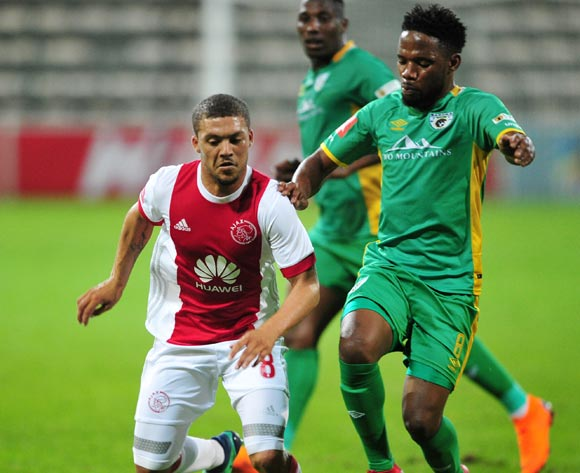Grant Margeman of Ajax Cape Town is challenged by Mduduzi Mdatsane of Baroka FC during the Absa Premiership 2017/18 game between Ajax Cape Town and Baroka FC at Athlone Stadium, Cape Town on 24 April 2018 © Ryan Wilkisky/BackpagePix