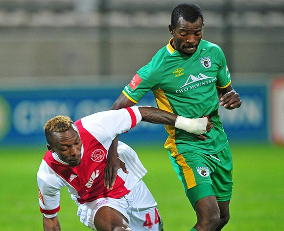 Yannick Zakri of Ajax Cape Town is challenged by Albert Mothupa of Baroka FC during the Absa Premiership 2017/18 game between Ajax Cape Town and Baroka FC at Athlone Stadium, Cape Town on 24 April 2018 © Ryan Wilkisky/BackpagePix