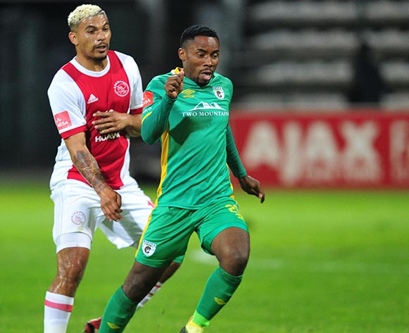 Sipho Moeti of Baroka FC is challenged by Toriq Losper of Ajax Cape Town during the Absa Premiership 2017/18 game between Ajax Cape Town and Baroka FC at Athlone Stadium, Cape Town on 24 April 2018 © Ryan Wilkisky/BackpagePix
