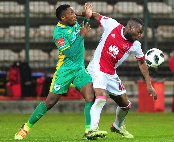 Siyanda Zwane of Ajax Cape Town is challenged by Sipho Moeti of Baroka FC during the Absa Premiership 2017/18 game between Ajax Cape Town and Baroka FC at Athlone Stadium, Cape Town on 24 April 2018 © Ryan Wilkisky/BackpagePix