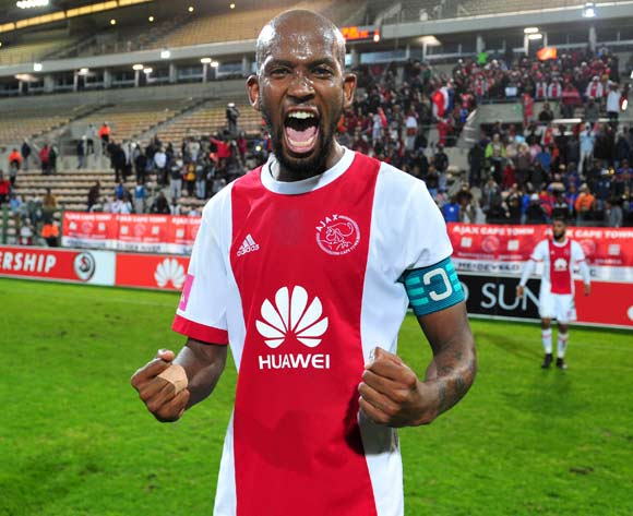 Mosa Lebusa of Ajax Cape Town celebrates after helping his team to a late win scoring the winner in the closing stages during the Absa Premiership 2017/18 game between Ajax Cape Town and Baroka FC at Athlone Stadium, Cape Town on 24 April 2018 © Ryan Wilkisky/BackpagePix