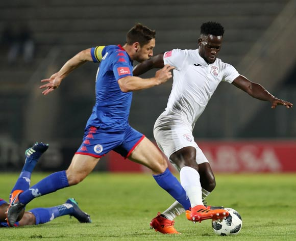 Siphelele Mthembu of Free State Stars challenged by Dean Furman of Supersport United during the Absa Premiership 2017/18 match between Supersport United and Free State Stars at Lucas Moripe Stadium, Atteridgeville on 25 April 2018 ©Muzi Ntombela/BackpagePix