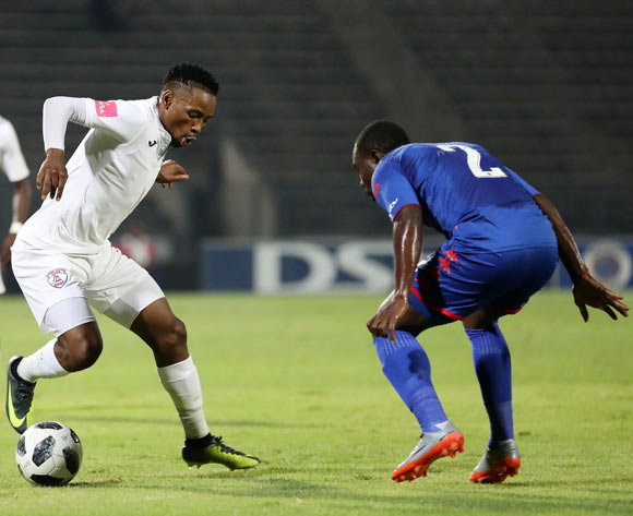Sinethemba Jantjie of Free State Stars challenged by Richard Kissi Boateng of Supersport United during the Absa Premiership 2017/18 match between Supersport United and Free State Stars at Lucas Moripe Stadium, Atteridgeville on 25 April 2018 ©Muzi Ntombela/BackpagePix
