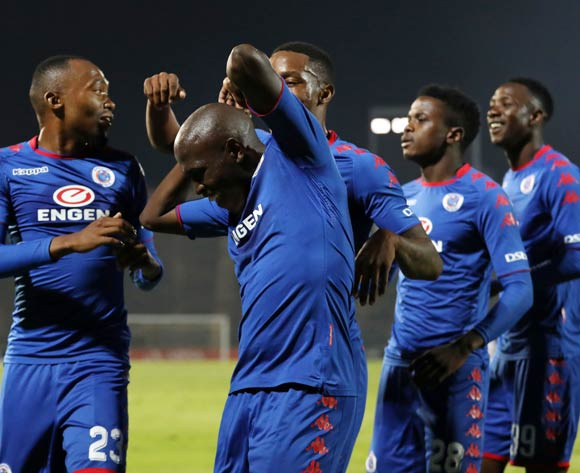 Supersport United players celebrating during the Absa Premiership 2017/18 match between Supersport United and Free State Stars at Lucas Moripe Stadium, Atteridgeville on 25 April 2018 ©Muzi Ntombela/BackpagePix