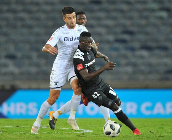 Augustine Mulenga of Orlando Pirates is challenged by Keegan Ritchie of Bidvest Wits during the Absa Premiership match between Orlando Pirates and Bidvest Wits  25 April  2018 at Orlando Stadium  Pic Sydney Mahlangu/BackpagePix