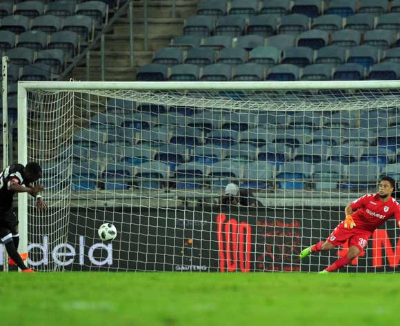 Justin Shonga of Orlando Pirates scores the third goal during the Absa Premiership match between Orlando Pirates and Bidvest Wits 25 April  2018 at Orlando Stadium  Pic Sydney Mahlangu/BackpagePix