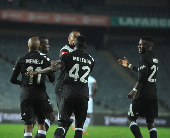 Augustine Mulenga of Orlando Pirates celebrates goal with teammates  during the Absa Premiership match between Orlando Pirates and Bidvest Wits  25 April  2018 at Orlando Stadium  Pic Sydney Mahlangu/BackpagePix