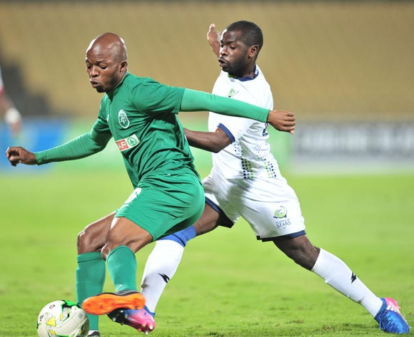 Butholezwe Ncube of AmaZulu challenged by Wangu Gome of Platinum Stars during the Absa Premiership 2017/18 football match between Platinum Stars and AmaZulu at Royal Bafokeng Stadium, Rustenburg on 25 April 2018 ©Samuel Shivambu/BackpagePix