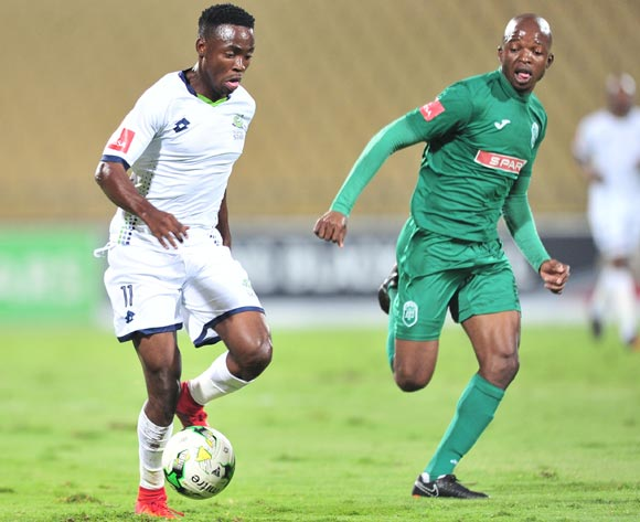 Sipho Senne of Platinum Stars challenged by Butholezwe Ncube of AmaZulu during the Absa Premiership 2017/18 football match between Platinum Stars and AmaZulu at Royal Bafokeng Stadium, Rustenburg on 25 April 2018 ©Samuel Shivambu/BackpagePix
