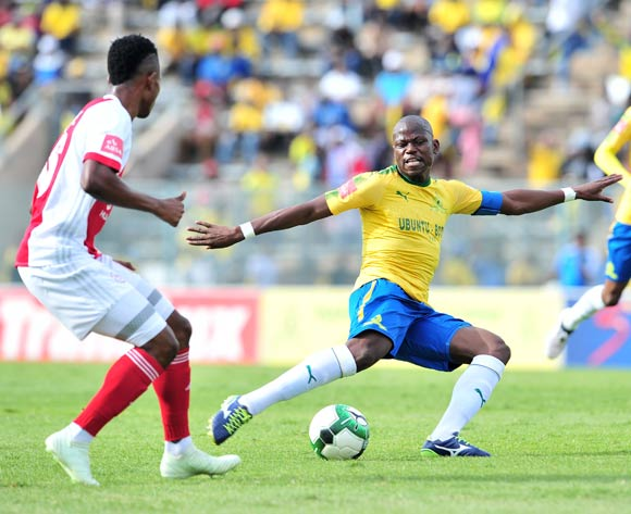 Hlompho Kekana of Mamelodi Sundowns challenged by Rodrick Kabwe of Ajax Cape Town during the Absa Premiership 2017/18 football match between Mamelodi Sundowns and Ajax Cape Town at Lucas Moripe Stadium, Rustenburg on 28 April 2018 ©Samuel Shivambu/BackpagePix