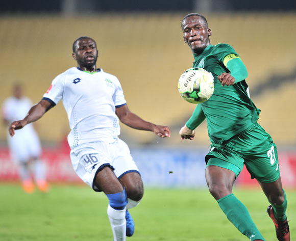 Tapelo Nyongo of AmaZulu challenged by Wangu Gome of AmaZulu during the Absa Premiership 2017/18 football match between Platinum Stars and AmaZulu at Royal Bafokeng Stadium, Rustenburg on 25 April 2018 ©Samuel Shivambu/BackpagePix