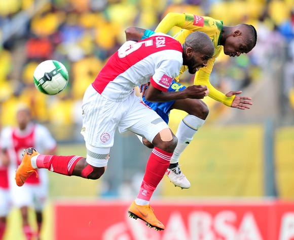 Khama Billiat of Mamelodi Sundowns challenged by Mosa Lebusa of Ajax Cape Town during the Absa Premiership 2017/18 football match between Mamelodi Sundowns and Ajax Cape Town at Lucas Moripe Stadium, Rustenburg on 28 April 2018 ©Samuel Shivambu/BackpagePix