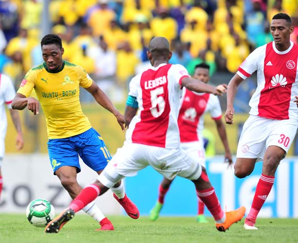 Sibusiso Vilakazi of Mamelodi Sundowns challenged by Mosa Lebusa of Ajax Cape Town during the Absa Premiership 2017/18 football match between Mamelodi Sundowns and Ajax Cape Town at Lucas Moripe Stadium, Rustenburg on 28 April 2018 ©Samuel Shivambu/BackpagePix