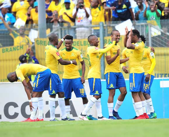 Sibusiso Vilakazi of Mamelodi Sundowns celebrates goal with teammates during the Absa Premiership 2017/18 football match between Mamelodi Sundowns and Ajax Cape Town at Lucas Moripe Stadium, Rustenburg on 28 April 2018 ©Samuel Shivambu/BackpagePix