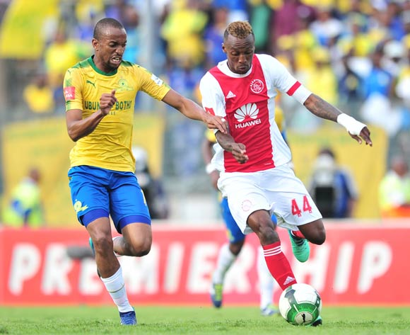 Yannick Zakri of Ajax Cape Town challenged by Tiyani Mabunda of Mamelodi Sundowns during the Absa Premiership 2017/18 football match between Mamelodi Sundowns and Ajax Cape Town at Lucas Moripe Stadium, Rustenburg on 28 April 2018 ©Samuel Shivambu/BackpagePix