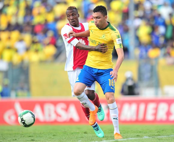 Yannick Zakri of Ajax Cape Town challenged by Ricardo Nascimento of Mamelodi Sundowns during the Absa Premiership 2017/18 football match between Mamelodi Sundowns and Ajax Cape Town at Lucas Moripe Stadium, Rustenburg on 28 April 2018 ©Samuel Shivambu/BackpagePix
