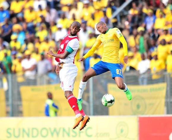 Thapelo Morena of Mamelodi Sundowns challenged by Mosa Lebusa of Ajax Cape Town during the Absa Premiership 2017/18 football match between Mamelodi Sundowns and Ajax Cape Town at Lucas Moripe Stadium, Rustenburg on 28 April 2018 ©Samuel Shivambu/BackpagePix