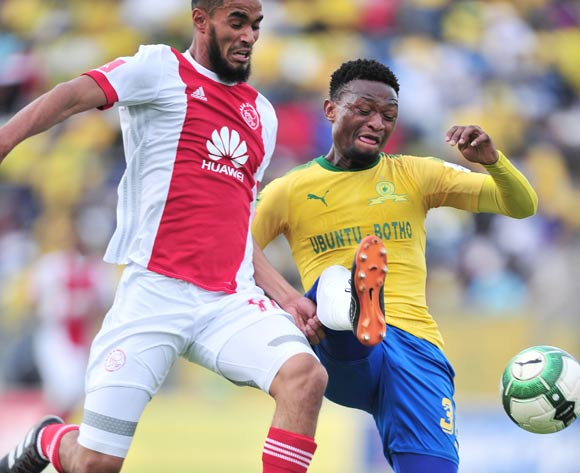 Tashreeq Morris of Ajax Cape Town challenged by Motjeka Madisa of Mamelodi Sundowns during the Absa Premiership 2017/18 football match between Mamelodi Sundowns and Ajax Cape Town at Lucas Moripe Stadium, Rustenburg on 28 April 2018 ©Samuel Shivambu/BackpagePix