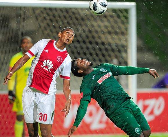 Mario Booysen of Ajax Cape Town F.C. manages to get to the ball before Mabhuti Khenyeza of AmaZulu FC  during the Absa Premiership 2017/18 game between AmaZulu and Ajax Cape Town at King Zwelithini Stadium, KwaZulu-Natal on 3 April 2018 © Gerhard Duraan/BackpagePix