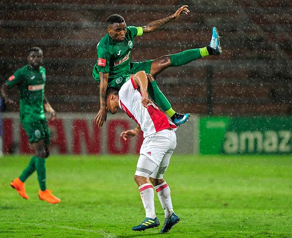 Fagrie Lakay of Ajax Cape Town gets under Mbongeni Gumede (Captain) of AmaZulu FC and sends him flying  during the Absa Premiership 2017/18 game between AmaZulu and Ajax Cape Town at King Zwelithini Stadium, KwaZulu-Natal on 3 April 2018 © Gerhard Duraan/BackpagePix