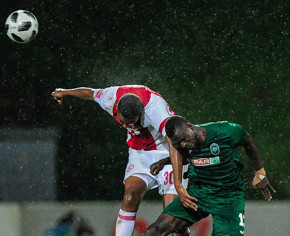 Sadate Ouro-Akoriko of AmaZulu FC manages somehow to get to the ball before Mario Booysen of Ajax Cape Town F.C. during the Absa Premiership 2017/18 game between AmaZulu and Ajax Cape Town at King Zwelithini Stadium, KwaZulu-Natal on 3 April 2018 © Gerhard Duraan/BackpagePix