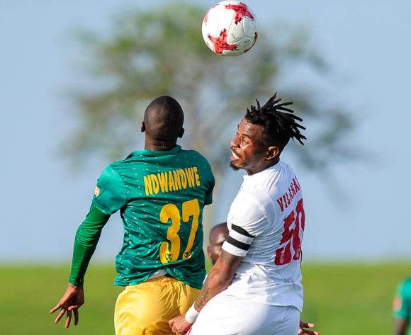 Nhlanhla Vilakazi, Captain of Free State Stars FC  manages to get the ball despite the efforts of Velemseni Ndwandwe of Lamontville Golden Arrows from the during the Absa Premiership 2017/18 game between Golden Arrows and Free State Stars at Princess Magogo Stadium, KwaZulu-Natal on 7 April 2018 © Gerhard Duraan/BackpagePix