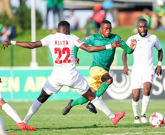 Siphelele Magubane of Lamontville Golden Arrows finds a gap past the defence of Bangaly Keita of Free State Stars FC during the Absa Premiership 2017/18 game between Golden Arrows and Free State Stars at Princess Magogo Stadium, KwaZulu-Natal on 7 April 2018 © Gerhard Duraan/BackpagePix
