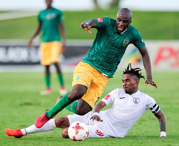 Down goes Musa Bilankulu, Captain of Lamontville Golden Arrows when Nhlanhla Vilakazi, Captain of Free State Stars FC slides in to defend during the Absa Premiership 2017/18 game between Golden Arrows and Free State Stars at Princess Magogo Stadium, KwaZulu-Natal on 7 April 2018 © Gerhard Duraan/BackpagePix