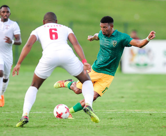 Wayde Jooste of Lamontville Golden Arrows tries to find a way past the defence of Tamsanqa Teyise of Free State Stars FC during the Absa Premiership 2017/18 game between Golden Arrows and Free State Stars at Princess Magogo Stadium, KwaZulu-Natal on 7 April 2018 © Gerhard Duraan/BackpagePix