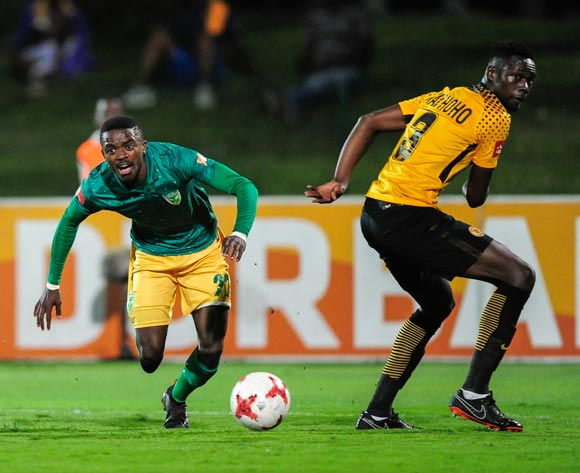 Siphelele Magubane of Lamontville Golden Arrows gets round the defence of Erick Mathoho of Kaizer Chiefs FC  during the Absa Premiership 2017/18 game between Golden Arrows and Kaizer Chiefs at Princess Magogo Stadium, KwaZulu-Natal  on 24 April 2018 © Gerhard Duraan/BackpagePix