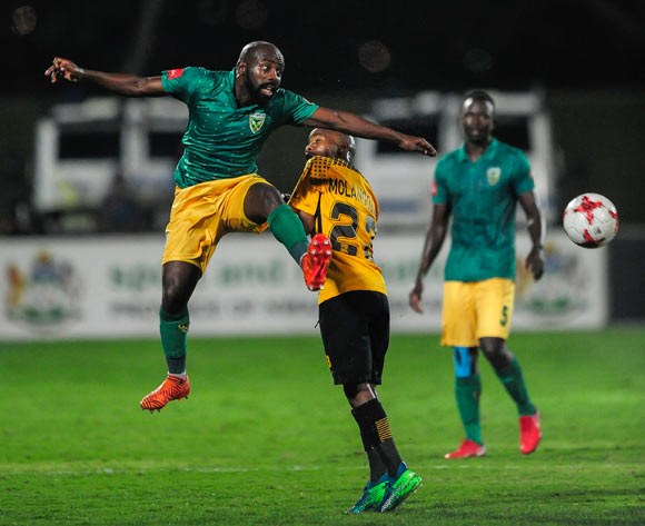Sandile Zuke of Lamontville Golden Arrows gets the ball before the effort of Joseph Molangoane of Kaizer Chiefs FC during the Absa Premiership 2017/18 game between Golden Arrows and Kaizer Chiefs at Princess Magogo Stadium, KwaZulu-Natal  on 24 April 2018 © Gerhard Duraan/BackpagePix