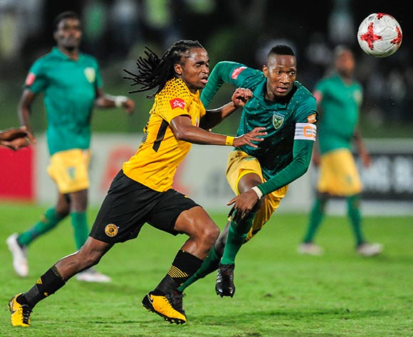 Matome Mathiane (Captain) Lamontville of Golden Arrows competes for the ball with Siphiwe Tshabalala of Kaizer Chiefs FC during the Absa Premiership 2017/18 game between Golden Arrows and Kaizer Chiefs at Princess Magogo Stadium, KwaZulu-Natal  on 24 April 2018 © Gerhard Duraan/BackpagePix