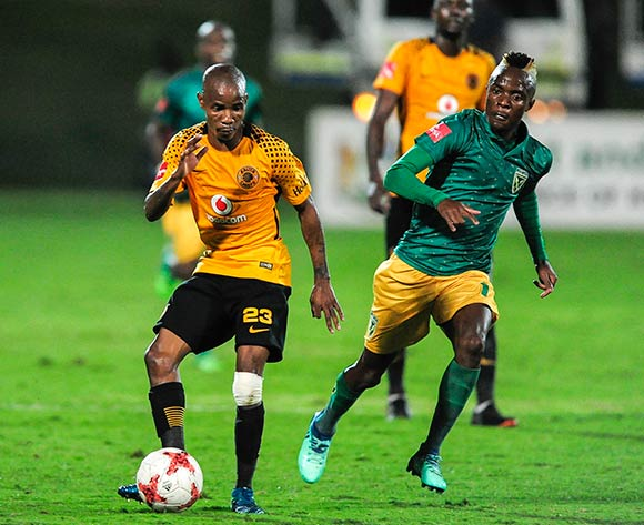 Kudakwashe Mahachi of Lamontville Golden Arrows starts to chase the ball passes by Joseph Molangoane of Kaizer Chiefs FC during the Absa Premiership 2017/18 game between Golden Arrows and Kaizer Chiefs at Princess Magogo Stadium, KwaZulu-Natal  on 24 April 2018 © Gerhard Duraan/BackpagePix