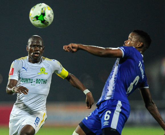 Hlompho Kekana Captain of Mamelodi Sundowns FC has his eyes on the ball as Bokang Tlhone of Maritzburg United gets lines up the clearing kick during the Absa Premiership 2017/18 game between Maritzburg United and Mamelodi Sundowns at Harry Gwala Stadium in Pietermaritzburg on 25 April 2018 © Gerhard Duraan/BackpagePix