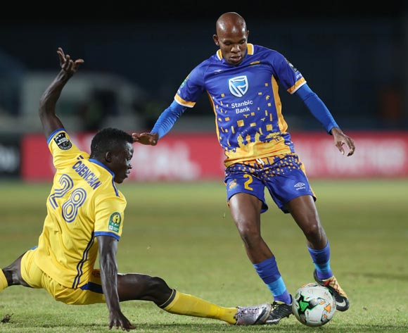 Lemponye Tshireletso of Township Rollers evades tackle from Fillbert Obenchan of KCCA during the 2018 CAF Champions League football match between Township Rollers and KCCA at the National Stadium, Gaborone, Botswana on 04 May 2018 ©Gavin Barker/BackpagePix