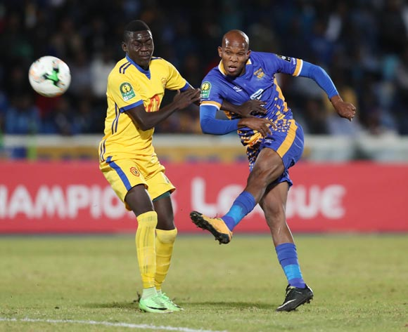 Lemponye Tshireletso of Township Rollers shoots challenged by Lawrence Bukenya of KCCA during the 2018 CAF Champions League football match between Township Rollers and KCCA at the National Stadium, Gaborone, Botswana on 04 May 2018 ©Gavin Barker/BackpagePix
